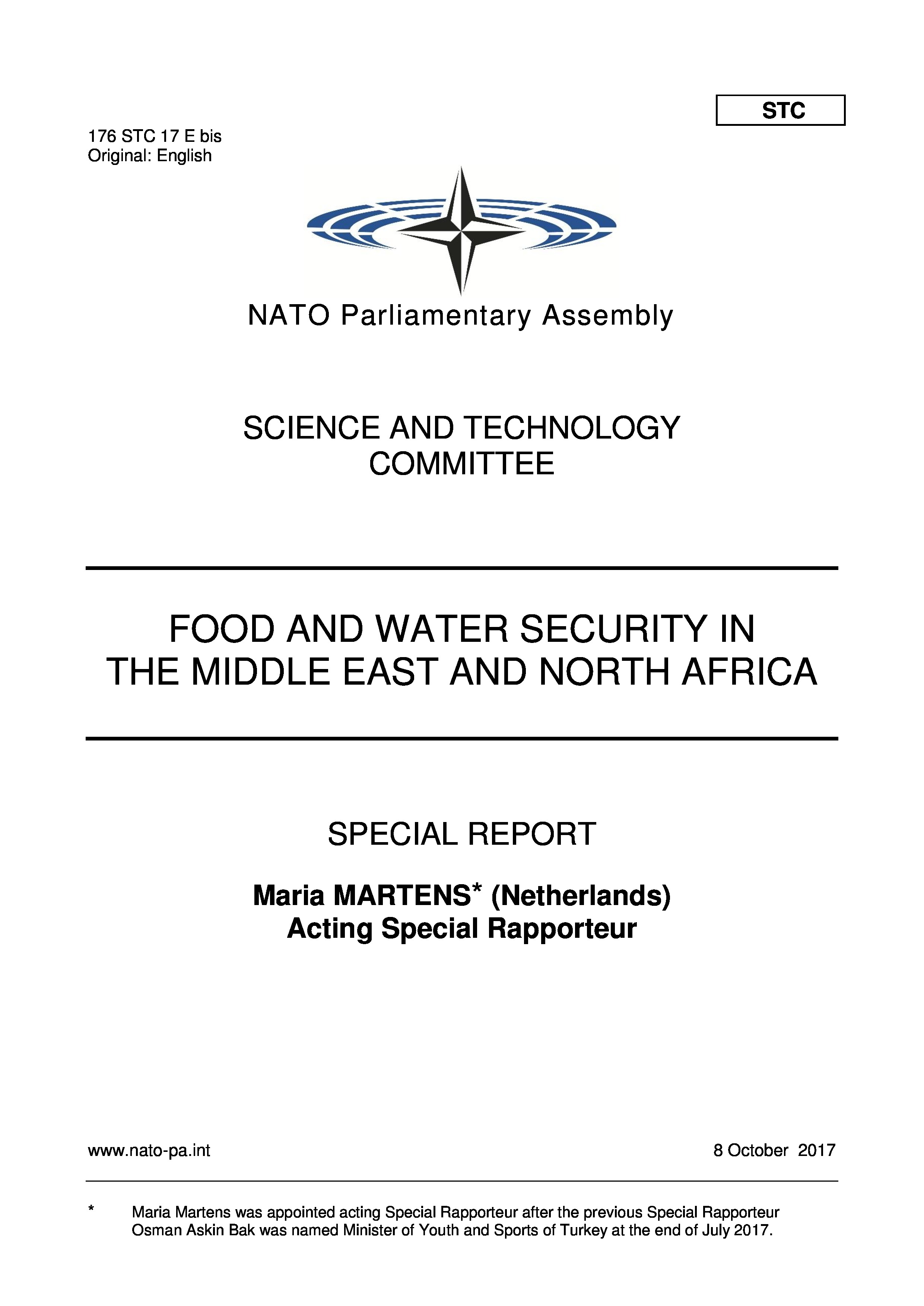 2017 - FOOD AND WATER SECURITY MENA REGION - MARTENS REPORT