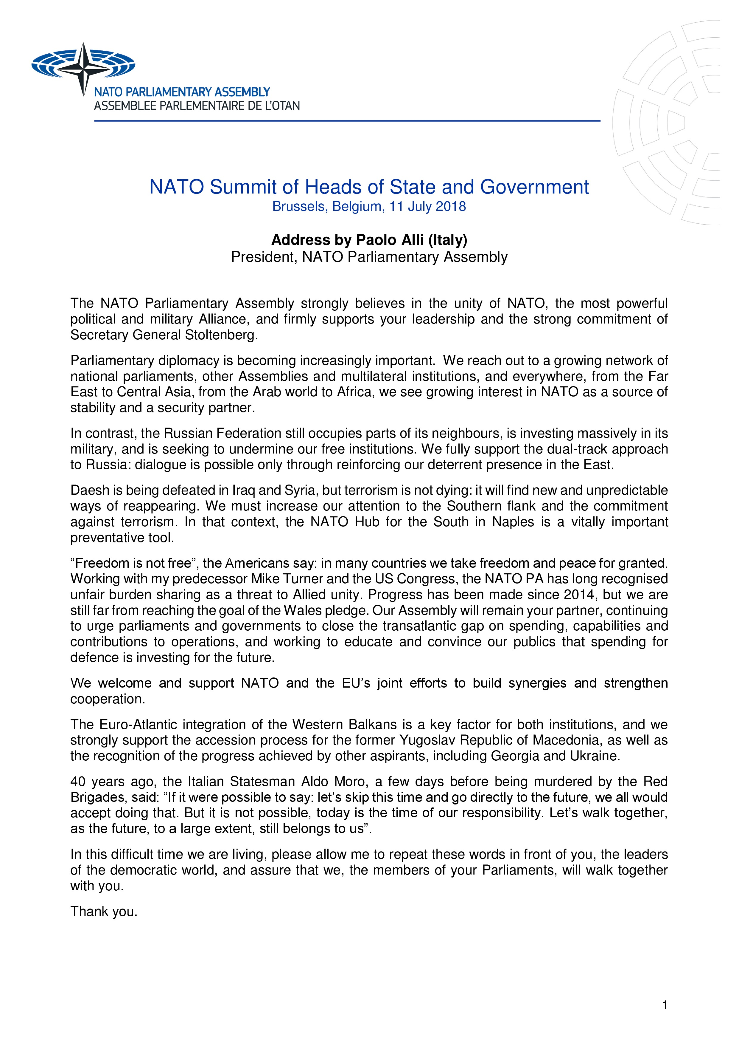 2018 - SPEECH BY PAOLO ALLI AT THE NATO SUMMIT IN BRUSSELS 520c545facd1