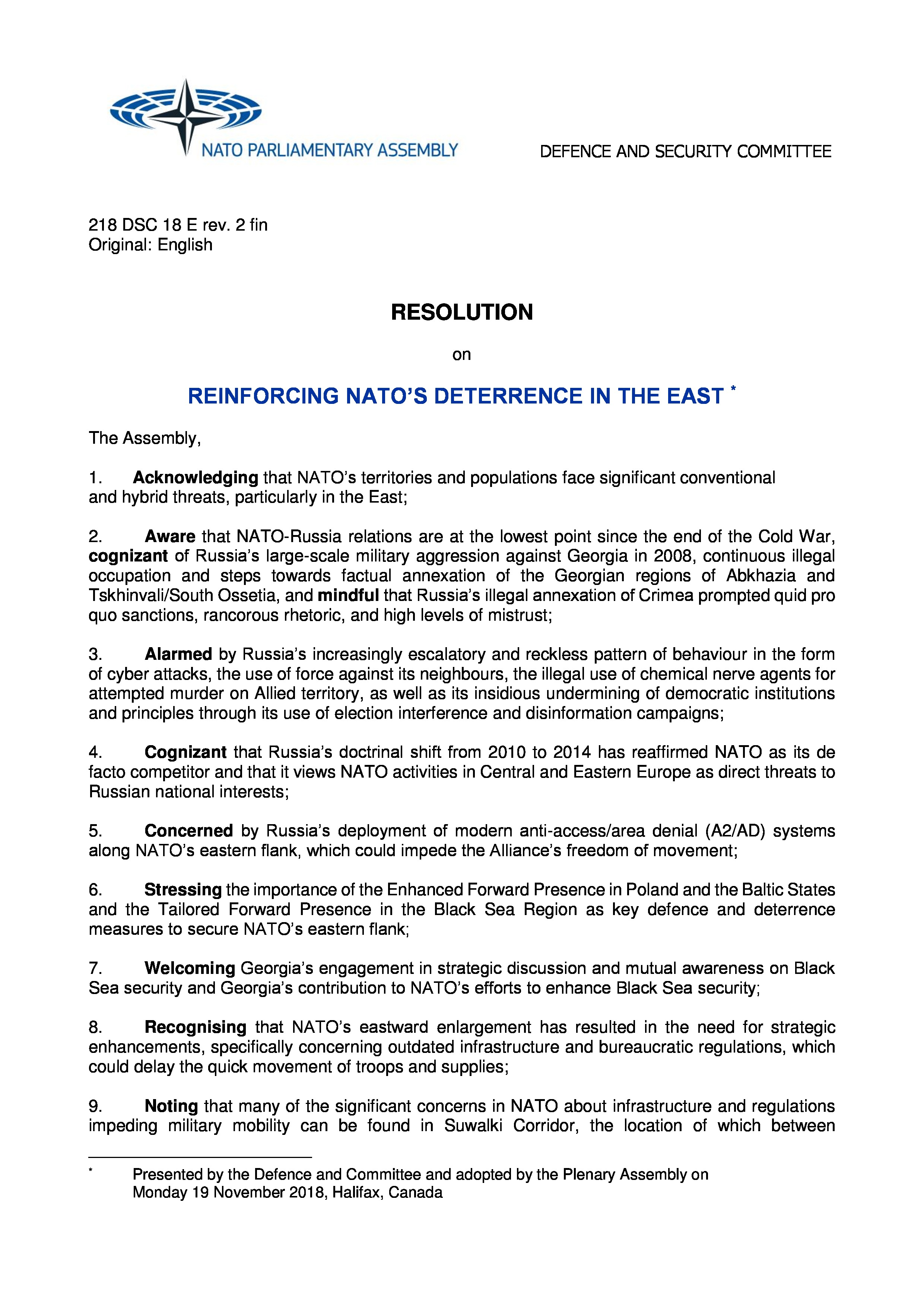 RESOLUTION 448 - REINFORCING NATO S DETERRENCE IN THE EAST - DSC 9419c5a93654